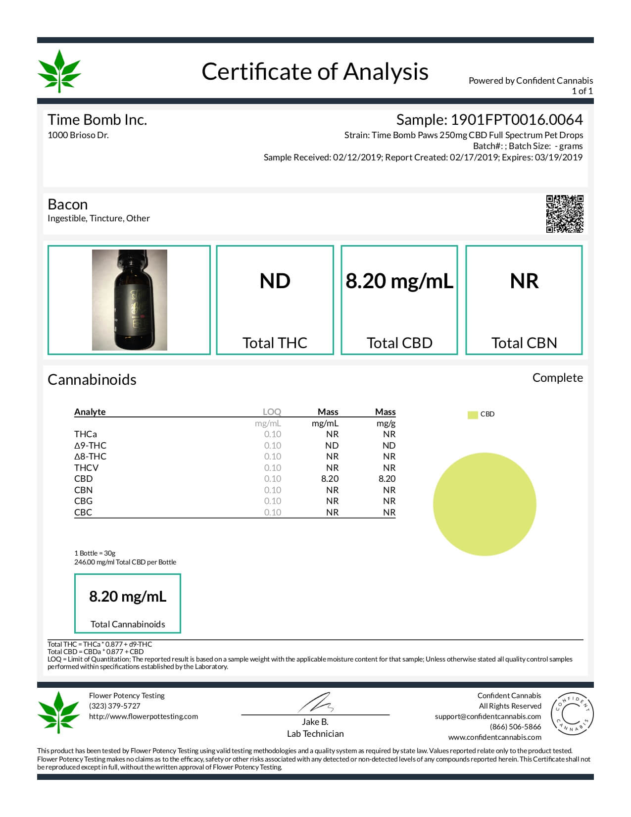 Time Bomb Extracts CBD Pet Tincture Bacon Lab Report