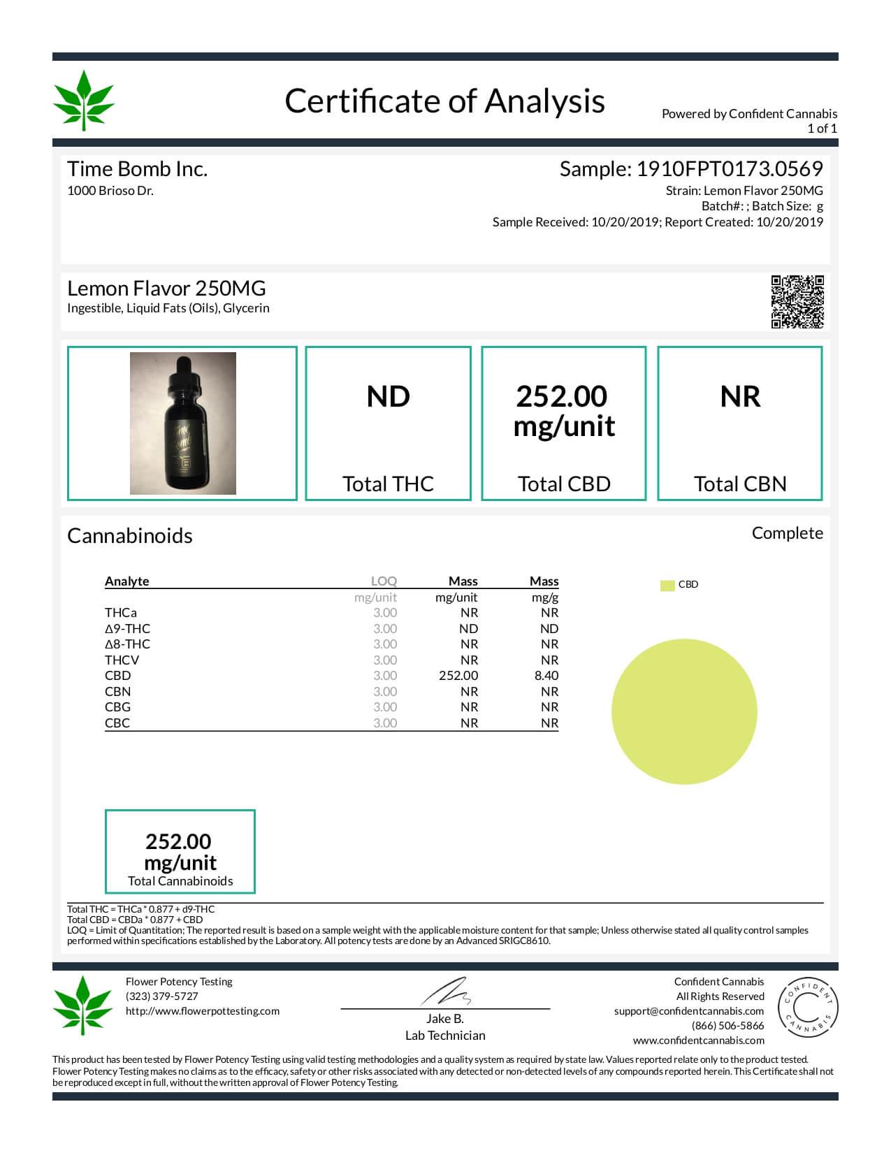 Time Bomb Extracts CBD Tincture Lemon 250mg Lab Report