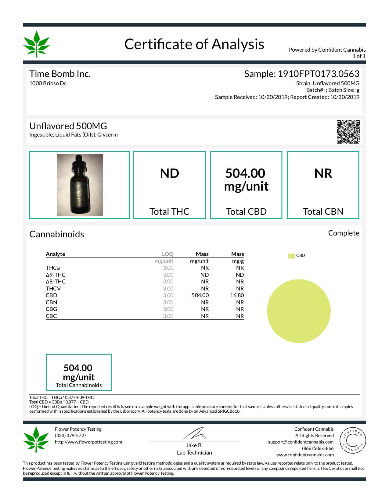 Time Bomb Extracts CBD Tincture Unflavored 500mg Lab Report