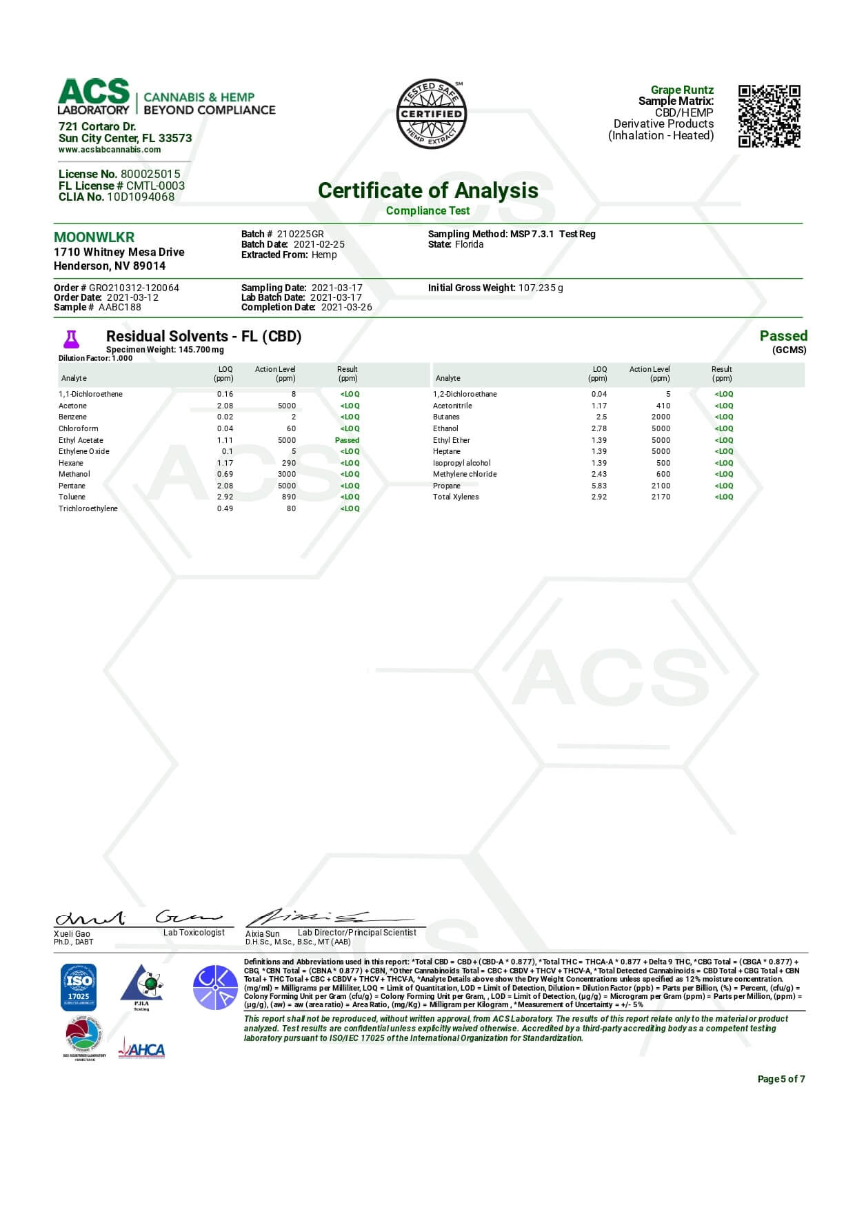 MoonWlkr Delta 8 THC Himalia Vape Cartridge Lab Report