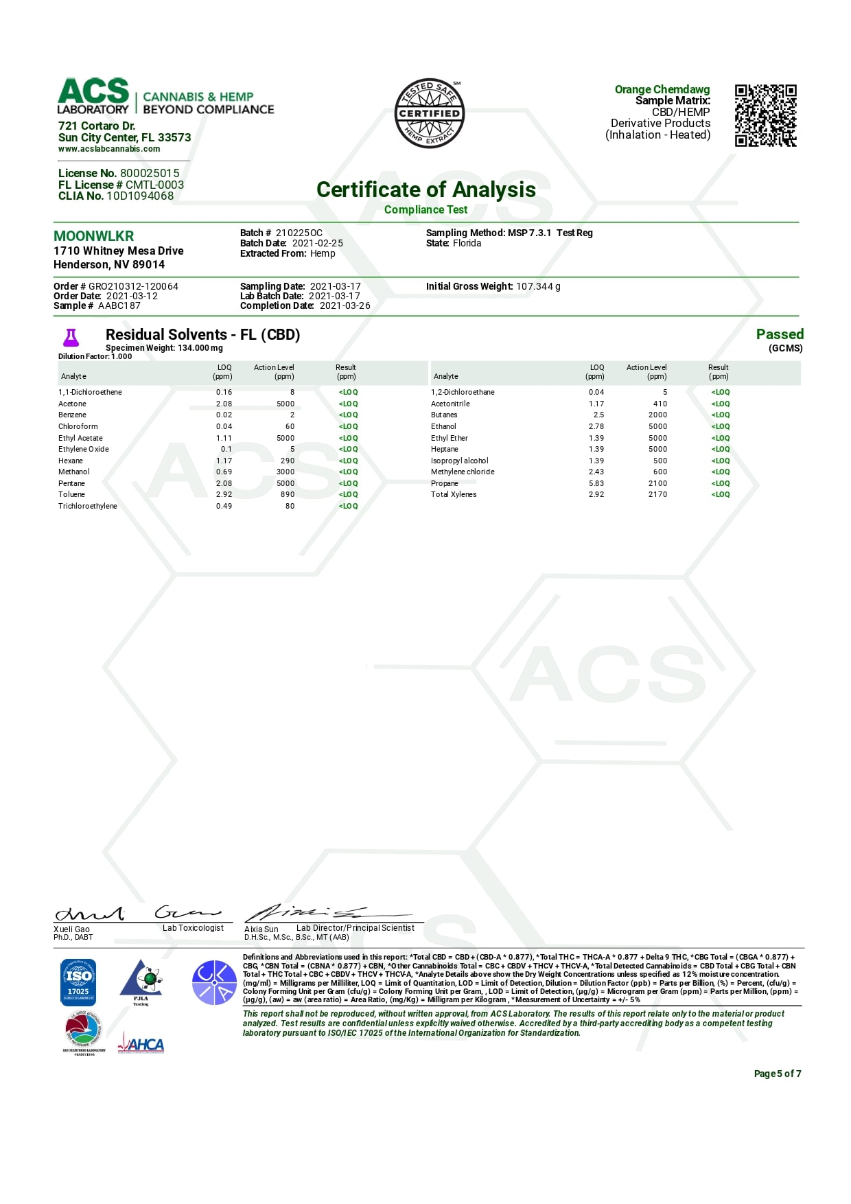 MoonWlkr Delta 8 THC Telesto Vape Cartridge Lab Report